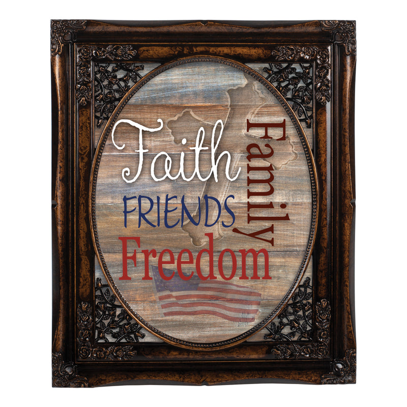 Faith Family Friends and Freedom Burlwood Floral Cutout 8 x 10 Table Top and Wall Photo Frame