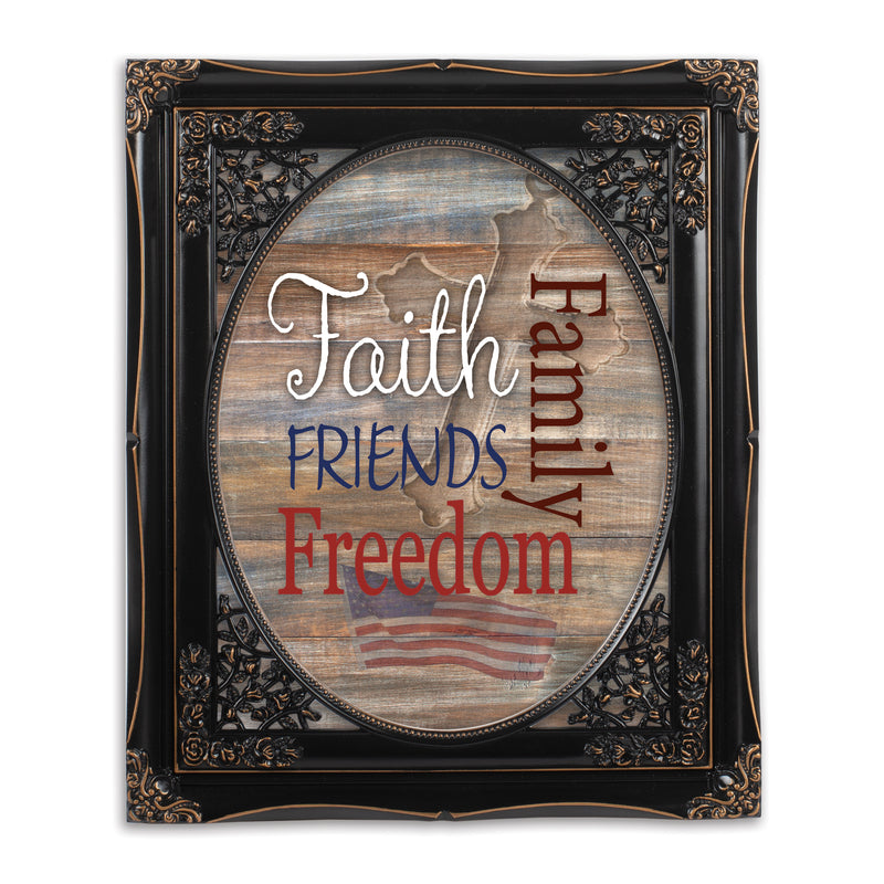 Faith Family Friends and Freedom Black Floral Cutout 8 x 10 Table Top and Wall Photo Frame