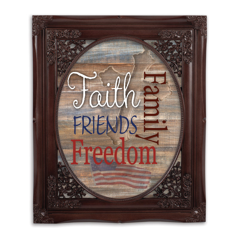 Faith Family Friends and Freedom Mahogany Floral Cutout 8 x 10 Table Top and Wall Photo Frame