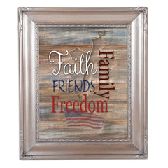 Faith Family Friends and Freedom Brushed Silver Rope Trim 8 x 10 Table Top and Wall Photo Frame