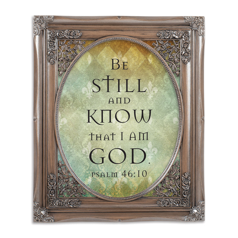Be Still Brushed Silver Floral Cutout 8 x 10 Table Top and Wall Photo Frame