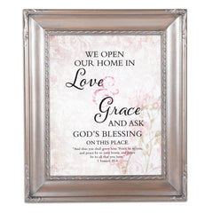 Love & Grace Brushed Silver Rope Trim 8 x 10 Table Top and Wall Photo Frame