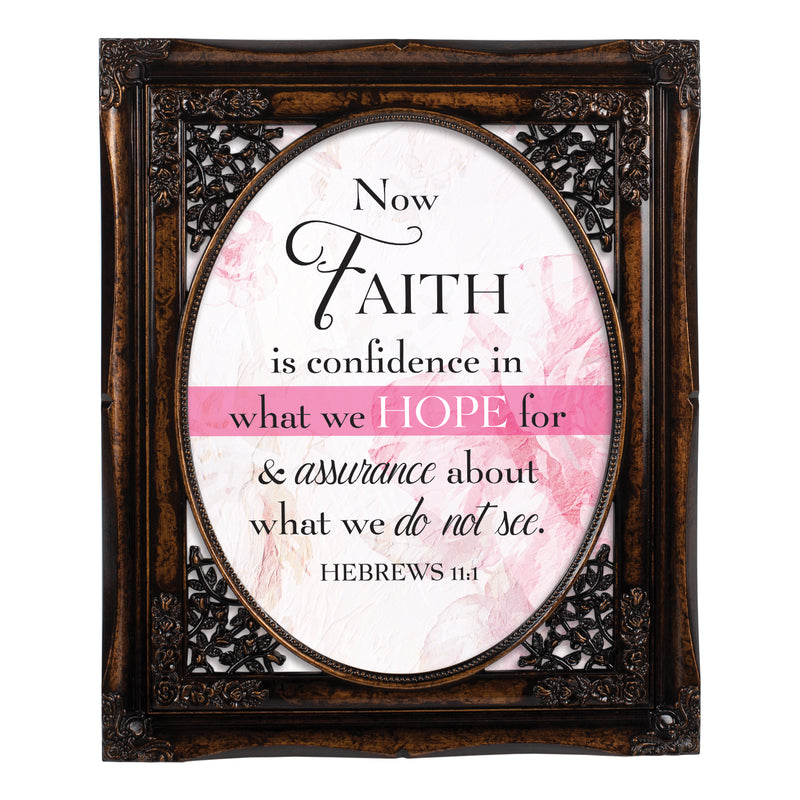 Confidence in Hope Burlwood Floral Cutout 8 x 10 Table Top and Wall Photo Frame