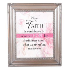 Confidence in Hope Brushed Silver Rope Trim 8 x 10 Table Top and Wall Photo Frame