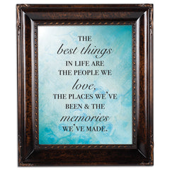 Best Things in Life Burlwood Rope Trim 8 x 10 Table Top and Wall Photo Frame