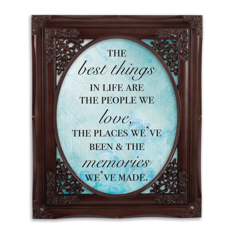 Best Things in Life Mahogany Floral Cutout 8 x 10 Table Top and Wall Photo Frame