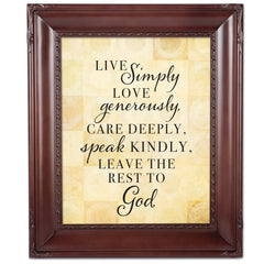 Live Love Care Mahogany Rope Trim 8 x 10 Table Top and Wall Photo Frame
