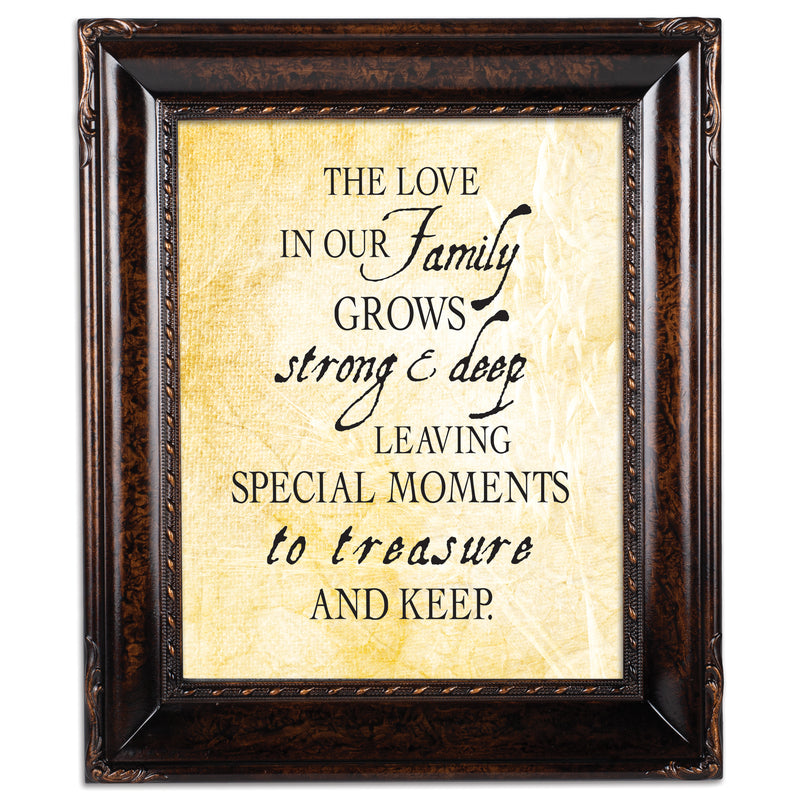 Treasure Family Burlwood Rope Trim 8 x 10 Table Top and Wall Photo Frame