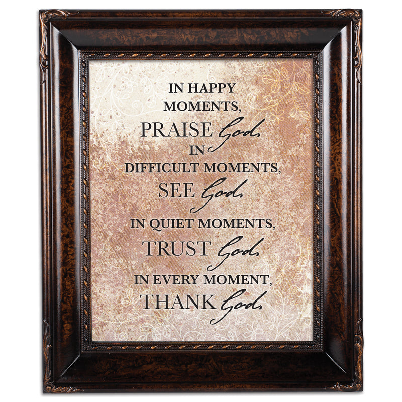 Praise See Trust Thank Him Burlwood Rope Trim 8 x 10 Table Top and Wall Photo Frame