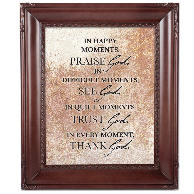 Praise See Trust Thank Him Mahogany Rope Trim 8 x 10 Table Top and Wall Photo Frame