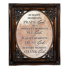 Praise See Trust Thank Him Burlwood Floral Cutout 8 x 10 Table Top and Wall Photo Frame