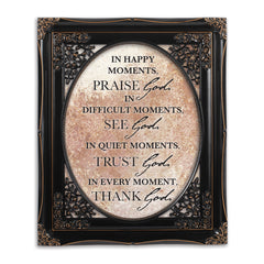 Praise See Trust Thank Him Black Floral Cutout 8 x 10 Table Top and Wall Photo Frame