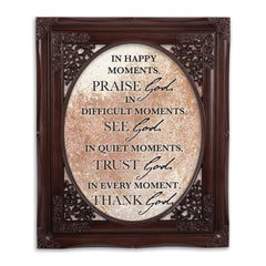 Praise See Trust Thank Him Mahogany Floral Cutout 8 x 10 Table Top and Wall Photo Frame