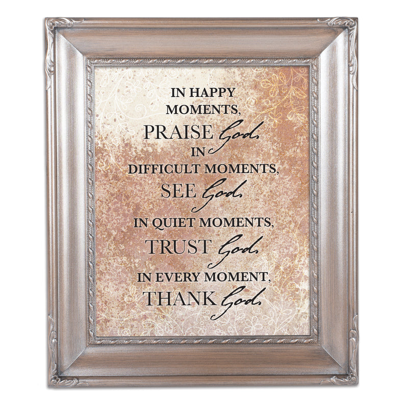 Praise See Trust Thank Him Brushed Silver Rope Trim 8 x 10 Table Top and Wall Photo Frame