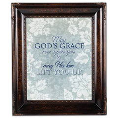 May His Love Lift You Burlwood Rope Trim 8 x 10 Table Top and Wall Photo Frame