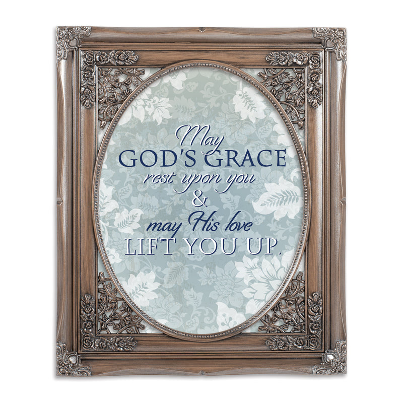 May His Love Lift You Brushed Silver Floral Cutout 8 x 10 Table Top and Wall Photo Frame