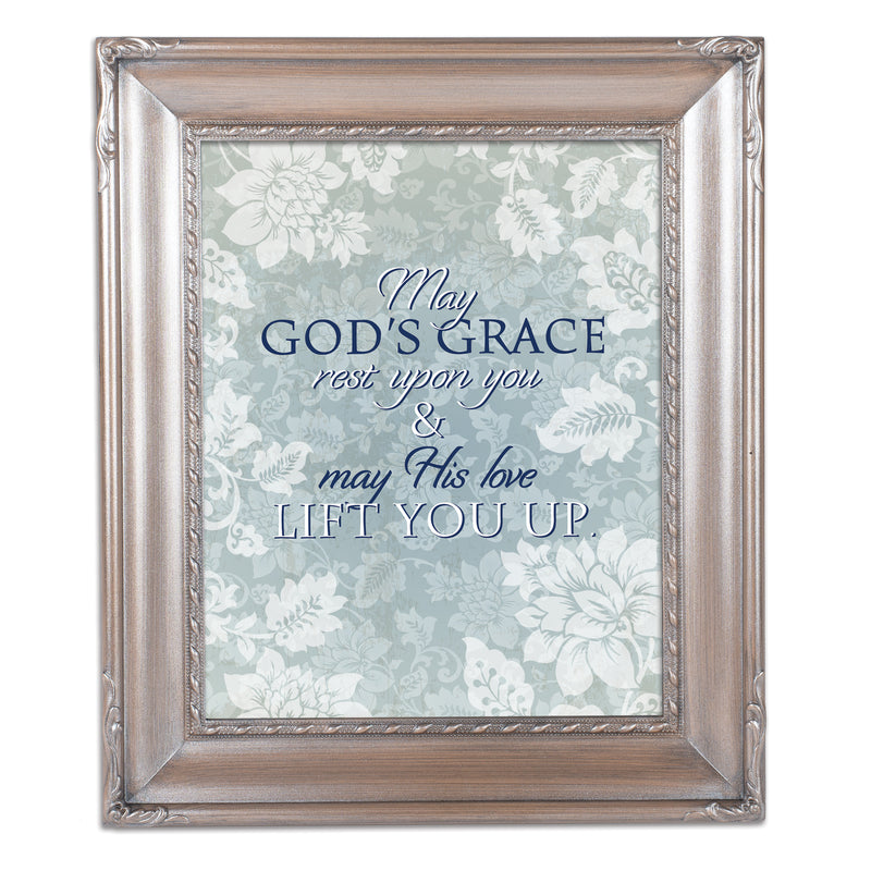 May His Love Lift You Brushed Silver Rope Trim 8 x 10 Table Top and Wall Photo Frame