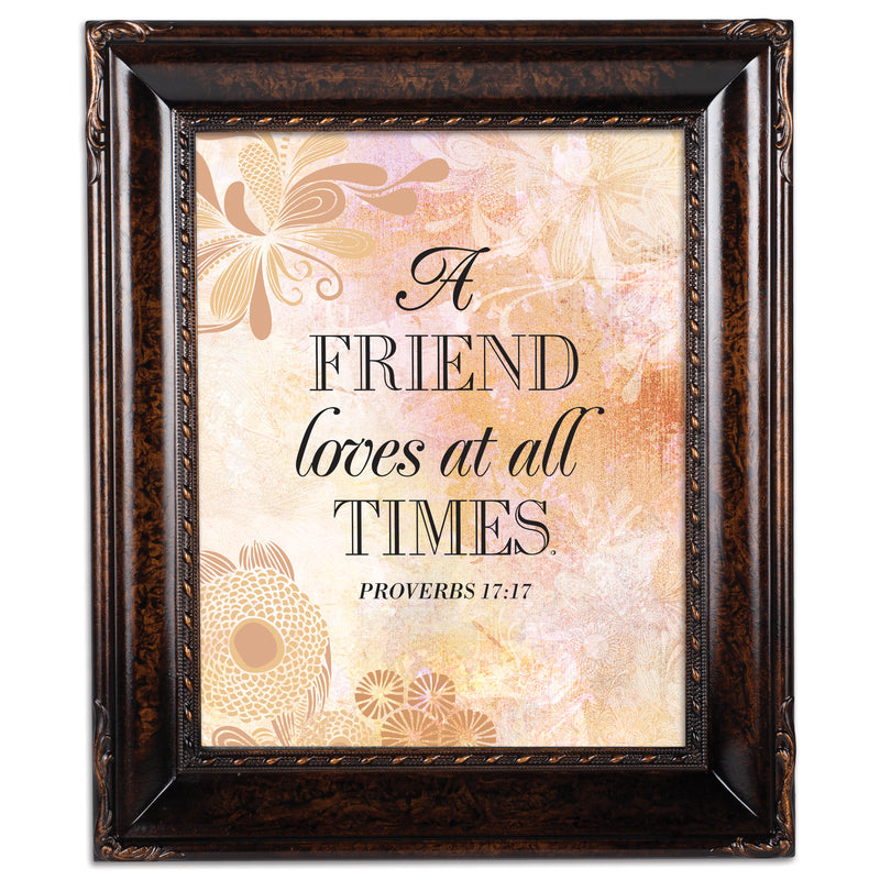A Friend Loves At All Times Burlwood Rope Trim 8 x 10 Table Top and Wall Photo Frame
