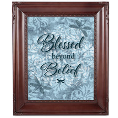 Blessed Beyond Belief Mahogany Rope Trim 8 x 10 Table Top and Wall Photo Frame