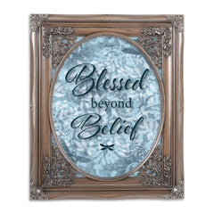 Blessed Beyond Belief Brushed Silver Floral Cutout 8 x 10 Table Top and Wall Photo Frame