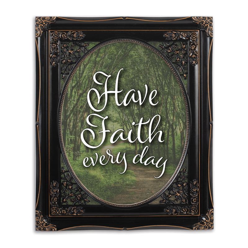 Have Faith Every Day Black Floral Cutout 8 x 10 Table Top and Wall Photo Frame