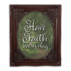 Have Faith Every Day Mahogany Floral Cutout 8 x 10 Table Top and Wall Photo Frame