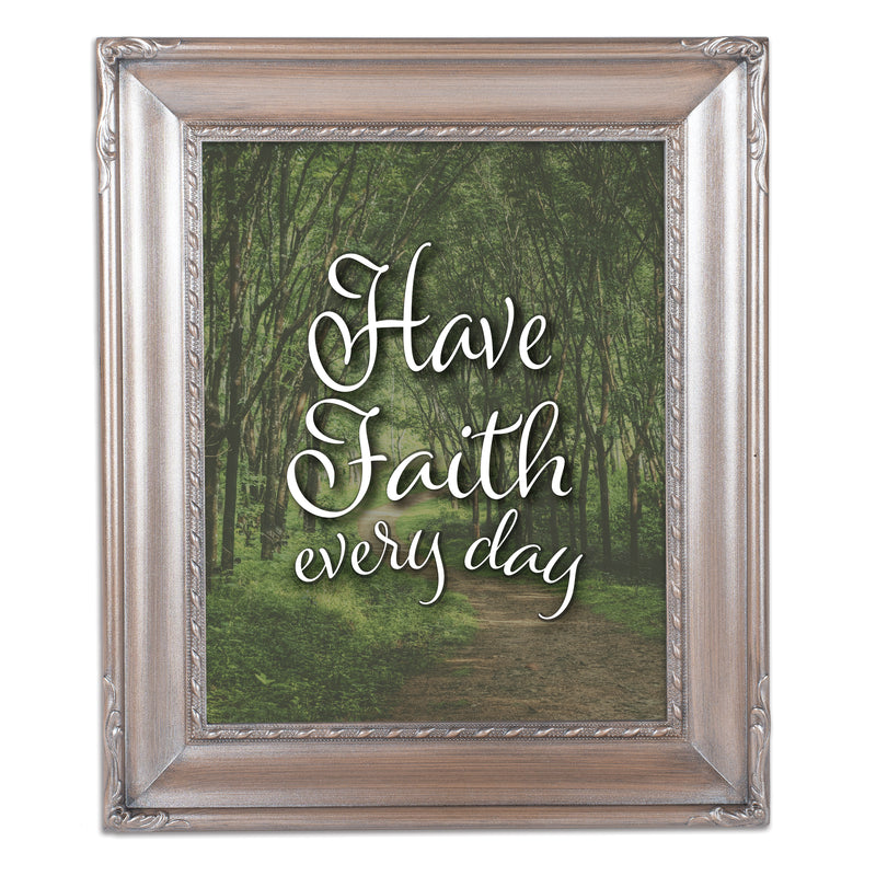 Have Faith Every Day Brushed Silver Rope Trim 8 x 10 Table Top and Wall Photo Frame