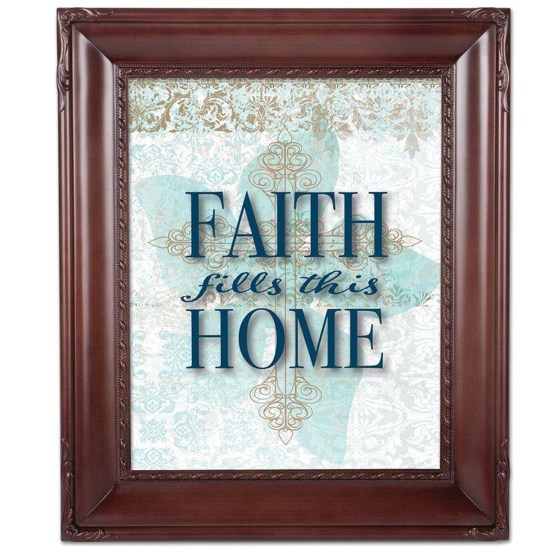 Faith Fills This Home Mahogany Rope Trim 8 x 10 Table Top and Wall Photo Frame