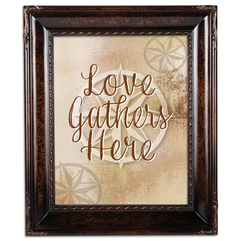 Love Gathers Here Burlwood Rope Trim 8 x 10 Table Top and Wall Photo Frame