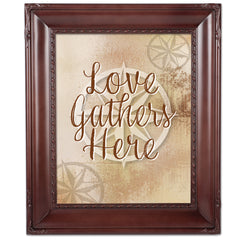 Love Gathers Here Mahogany Rope Trim 8 x 10 Table Top and Wall Photo Frame