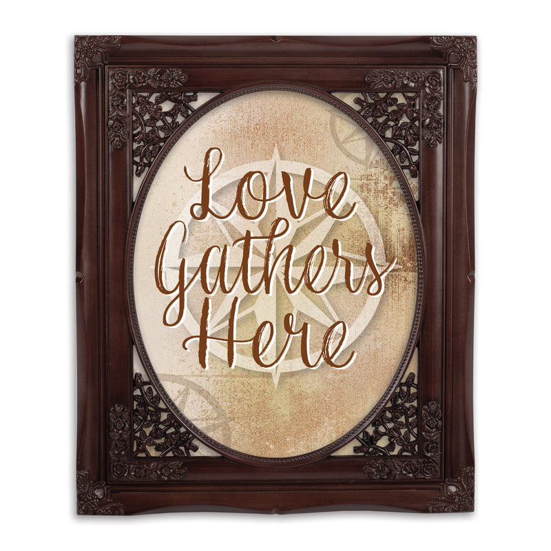 Love Gathers Here Mahogany Floral Cutout 8 x 10 Table Top and Wall Photo Frame