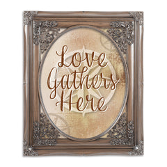Love Gathers Here Brushed Silver Floral Cutout 8 x 10 Table Top and Wall Photo Frame