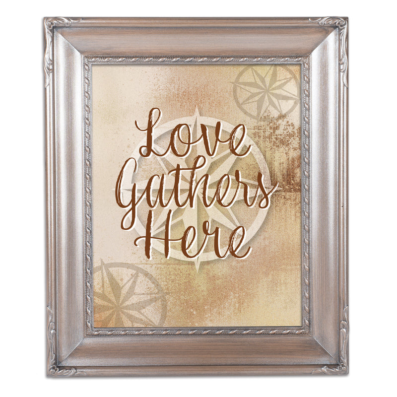 Love Gathers Here Brushed Silver Rope Trim 8 x 10 Table Top and Wall Photo Frame
