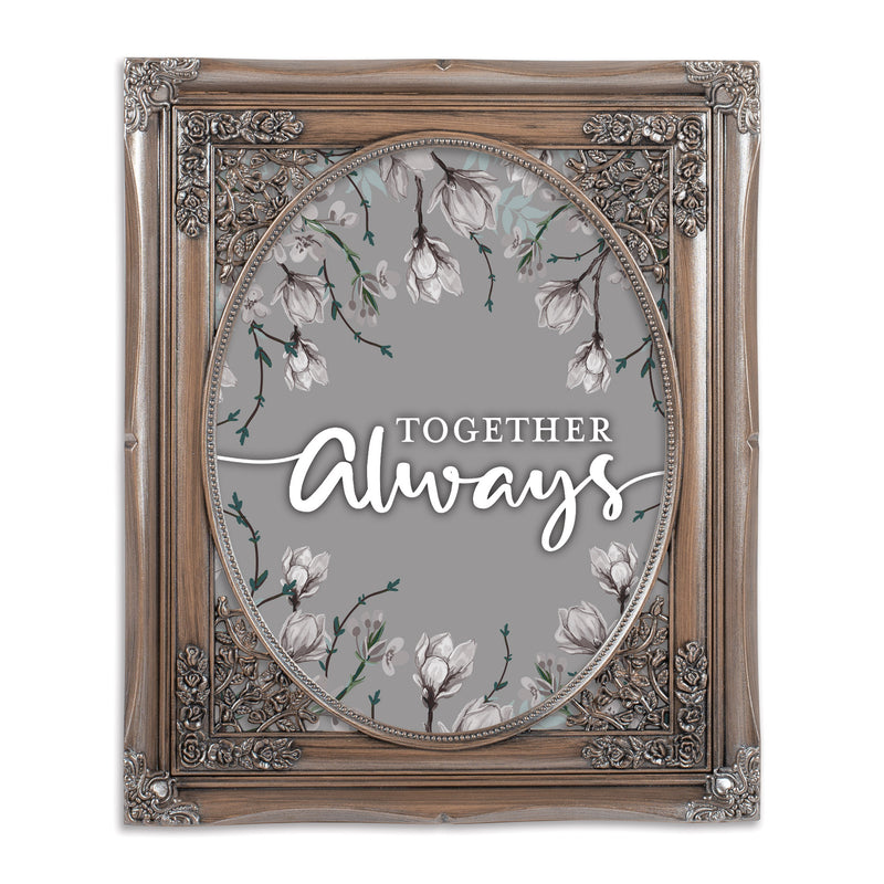 Together Always Silver Greybrush 8 x 10 Floral Cutout Wall And Tabletop Photo Frame