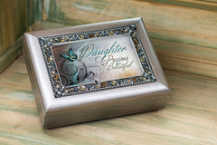 Precious Daughter Brushed Pewter Finish Jeweled Jewelry Music Box Plays You Light Up My Life
