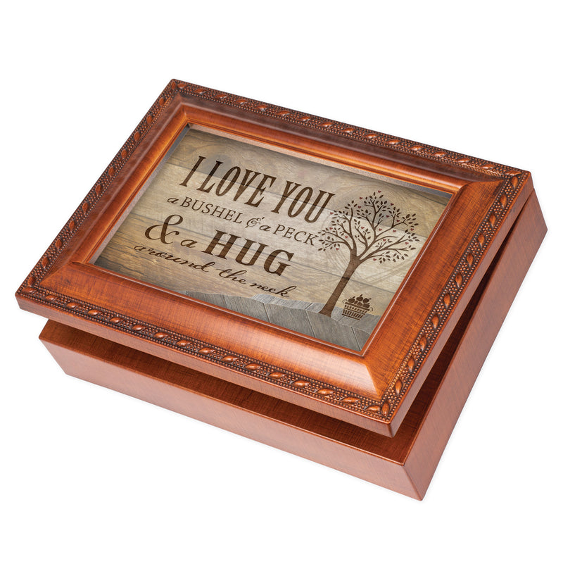 Love You a Bushel Peck Woodgrain Rope Trim Jewelry Music Box Plays You Are My Sunshine