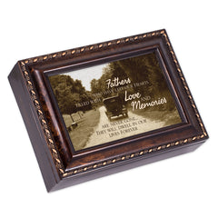 Fathers Who Left Hearts Filled Memories Burlwood Rope Trim Jewelry Music Box Plays Canon In D