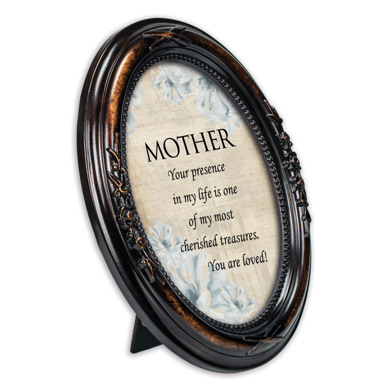 Mother You Are Loved Burlwood Finish Floral 5 x 7 Oval Table Top and Wall Photo Frame