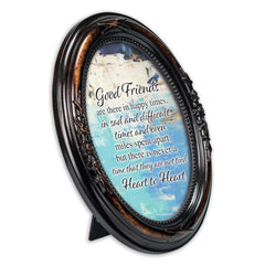 Good Friends Tied Heart To Heart Burlwood Finish Floral 5 x 7 Oval Table Top and Wall Photo Frame