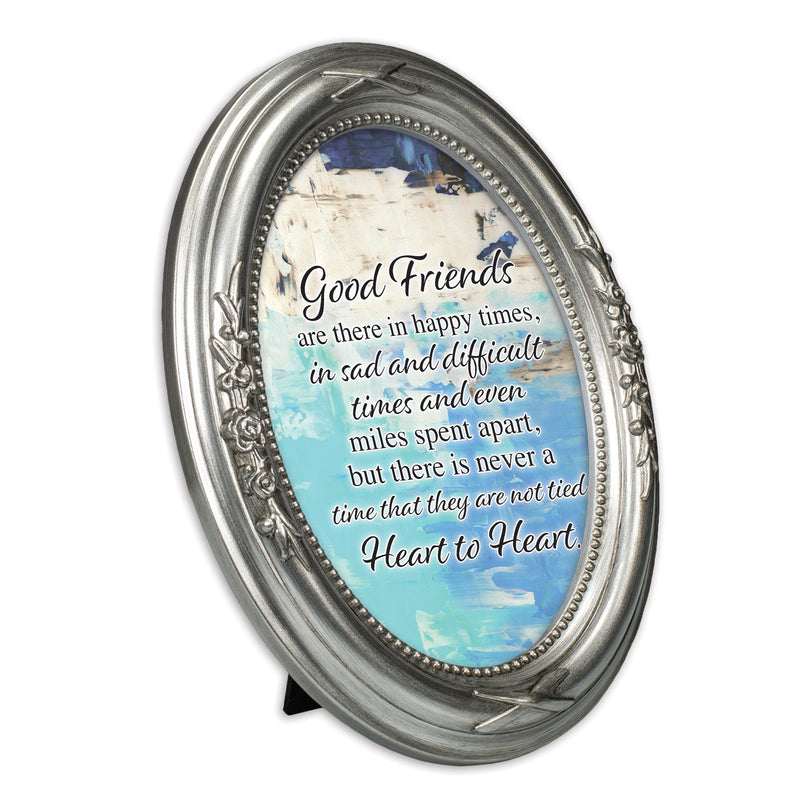 Good Friends Tied Heart To Heart Brushed Silver Floral 5 x 7 Oval Table Top and Wall Photo Frame