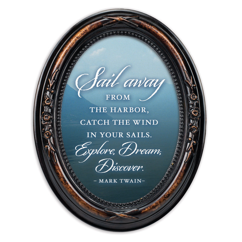 Sail Away Explore Dream Discover Burlwood Finish Floral 5 x 7 Oval Table Top and Wall Photo Frame