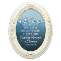 Sail Away Explore Dream Discover Distressed Ivory Floral 5 x 7 Oval Table Top and Wall Photo Frame