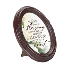 With All My Heart Mahogany Finish Floral 5 x 7 Oval Table and Wall Photo Frame