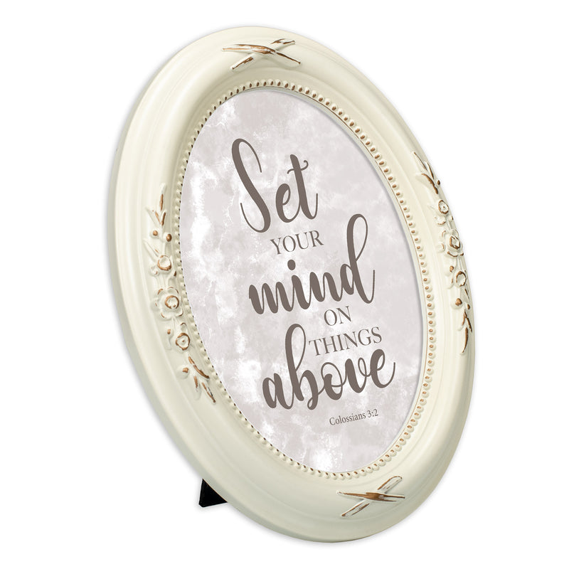 Set Your Mind Above Distressed Ivory Floral 5 x 7 Oval Table and Wall Photo Frame