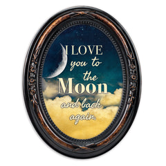 I Love You To The Moon And Back Burlwood Finish Floral 5 x 7 Oval Table and Wall Photo Frame