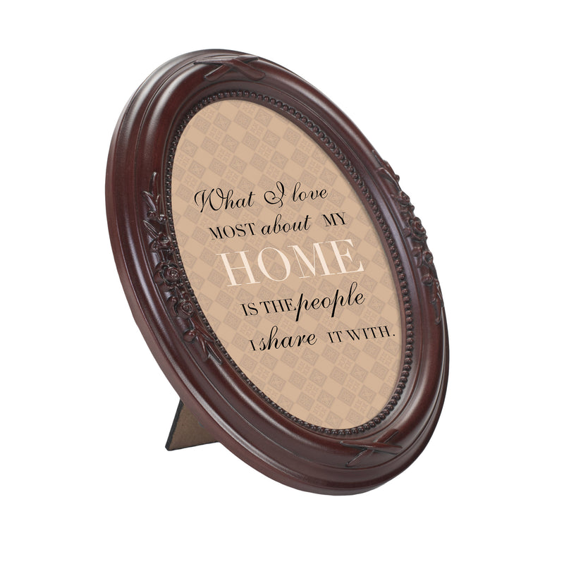 Love My Home Mahogany Finish Floral 5 x 7 Oval Table and Wall Photo Frame