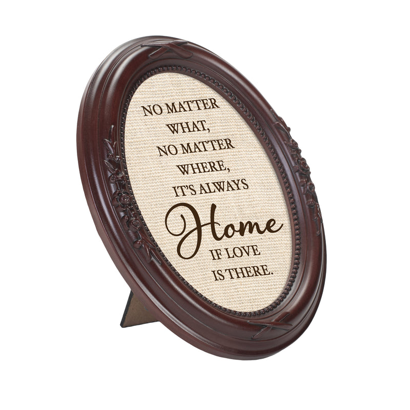 Always Home Mahogany Finish Floral 5 x 7 Oval Table and Wall Photo Frame