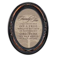 Family Tree Like Branches Burlwood Finish Floral 5 x 7 Oval Table and Wall Photo Frame