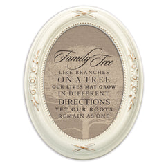 Family Tree Like Branches Distressed Ivory Floral 5 x 7 Oval Table and Wall Photo Frame