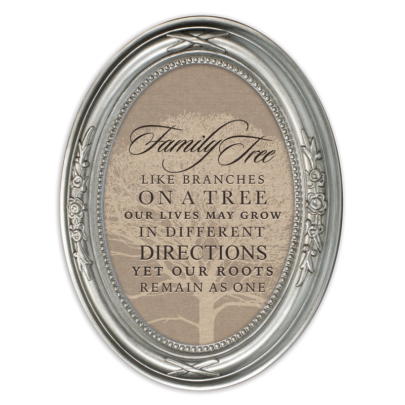 Family Tree Like Branches Brushed Silver Floral 5 x 7 Oval Table and Wall Photo Frame